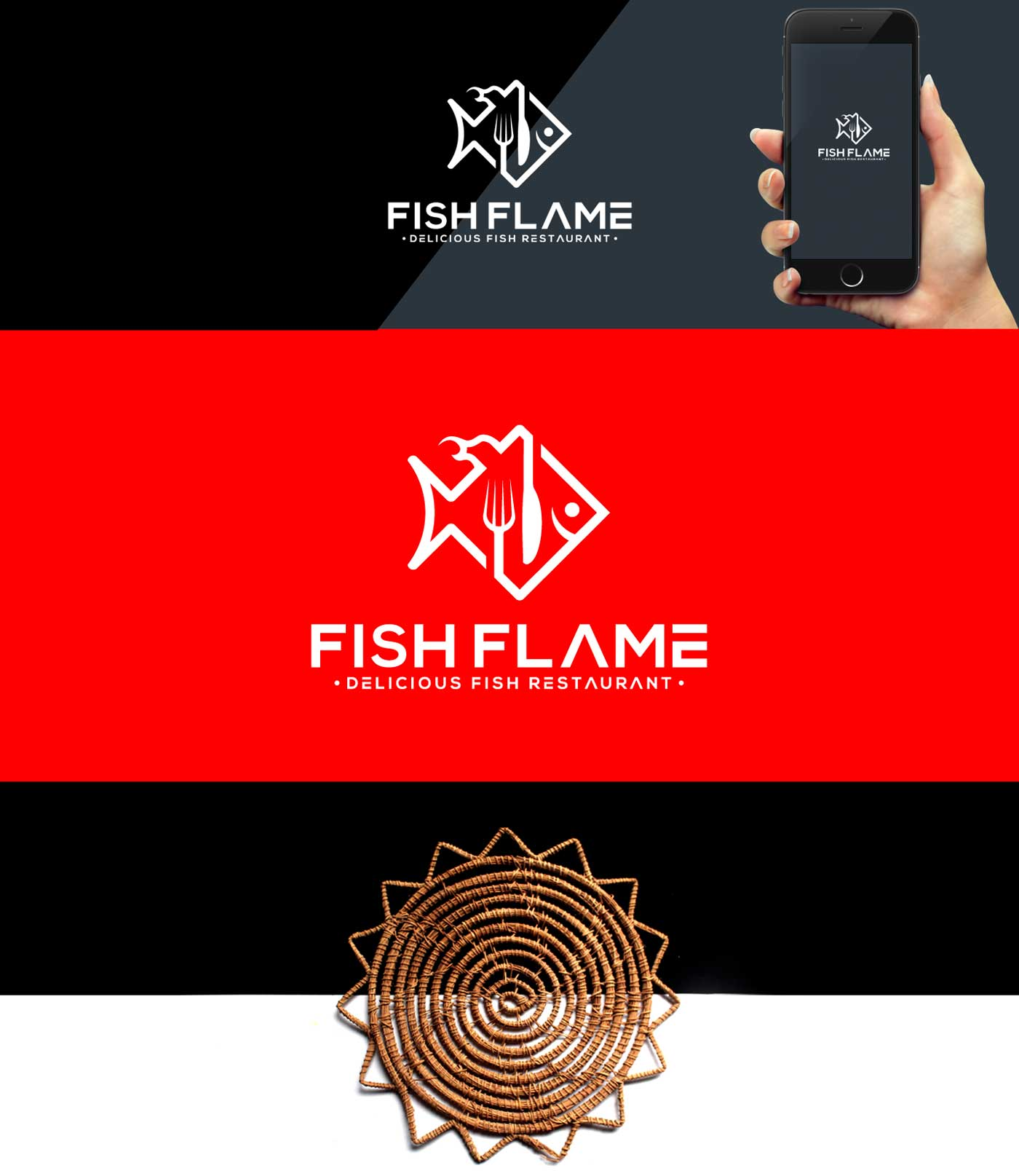 Logo presentation on black, red background and on smart phone