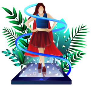 Illustration of superwoman in smartphone with forest