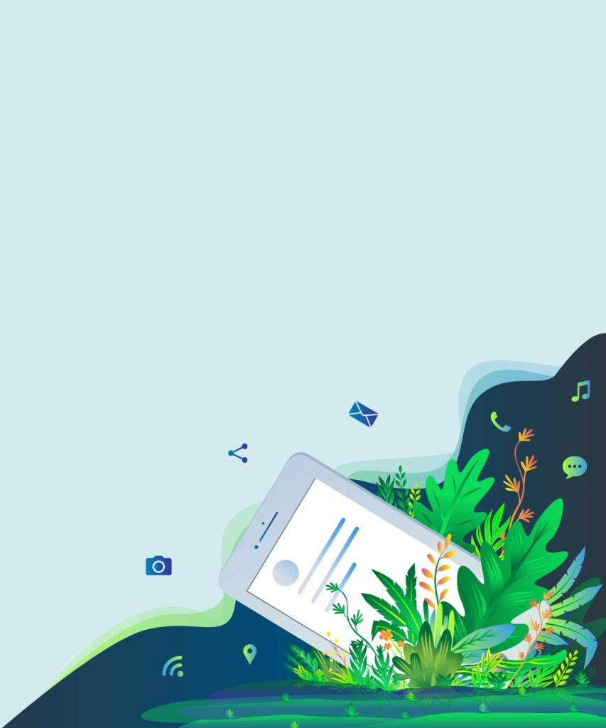 Smart phone and forest Illustration